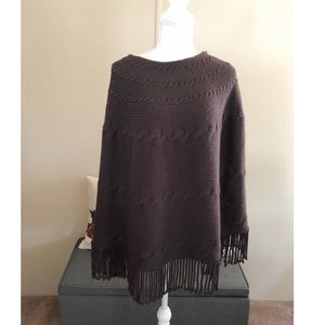 Lands End Brown Fringe Hem Poncho L/XL